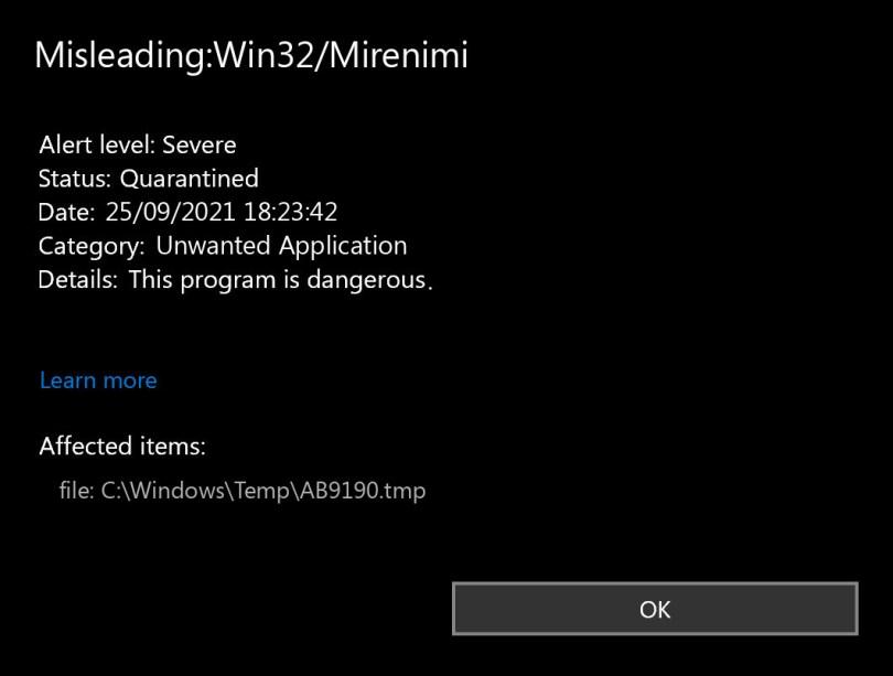 Misleading:Win32/Mirenimi found