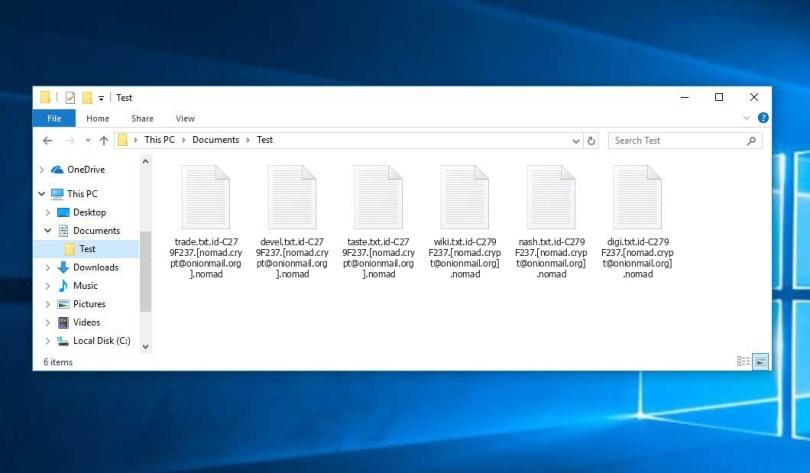 Nomad Virus - encrypted .nomad files