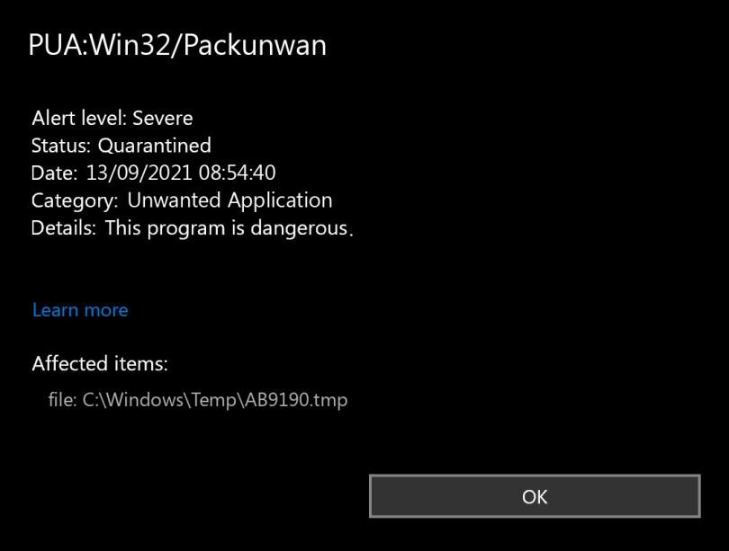 PUA:Win32/Packunwan found