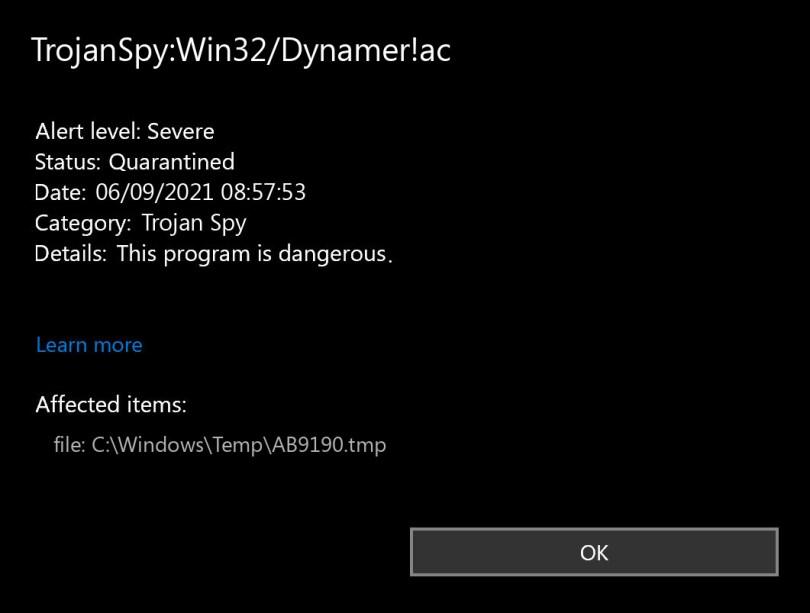 TrojanSpy:Win32/Dynamer!ac found
