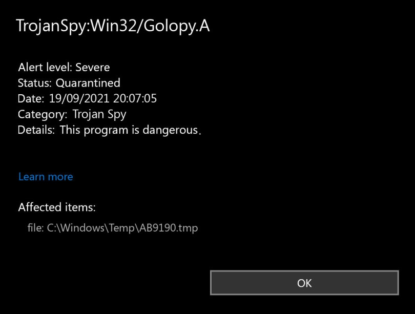 TrojanSpy:Win32/Golopy.A found