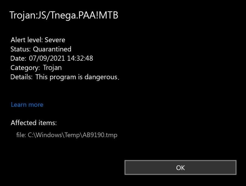 Trojan:JS/Tnega.PAA!MTB found