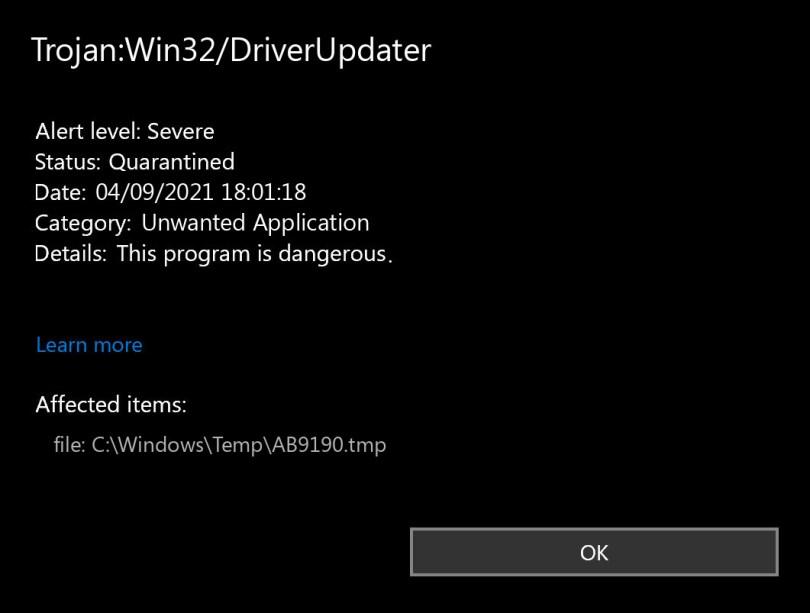 Trojan:Win32/DriverUpdater found