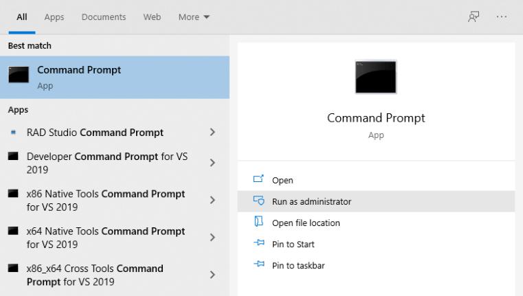 windows search - command prompt