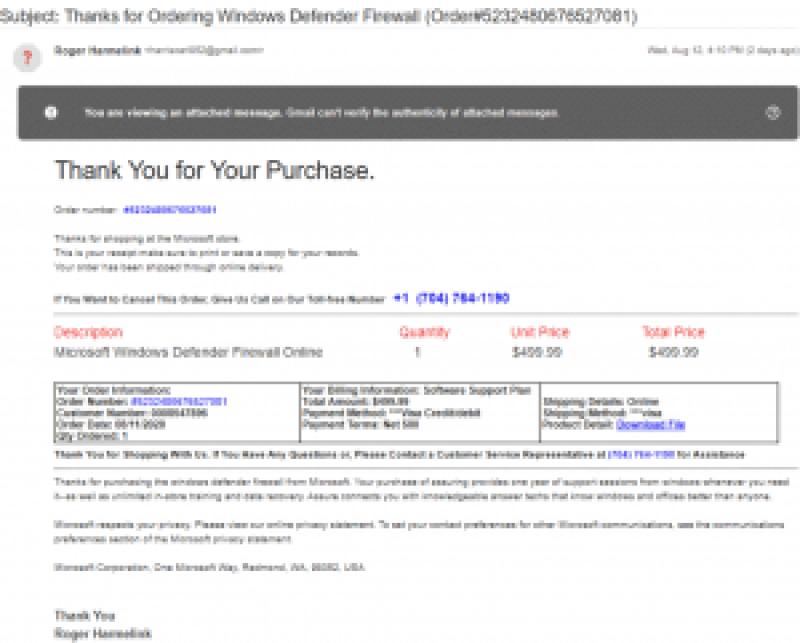 WindowsDefenderを購入する-偽のDefender請求書
