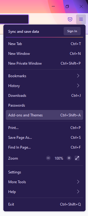 firefox menu Add-ons and Themes