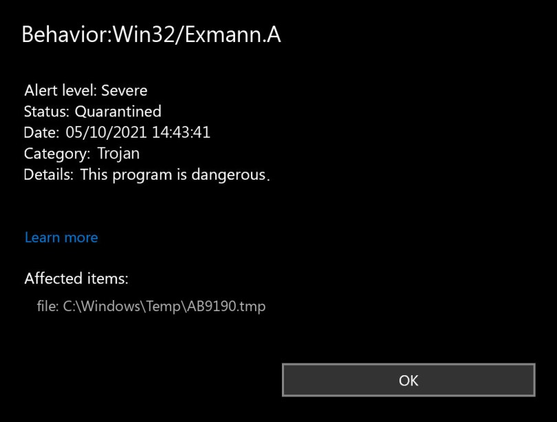 Behavior:Win32/Exmann.A found