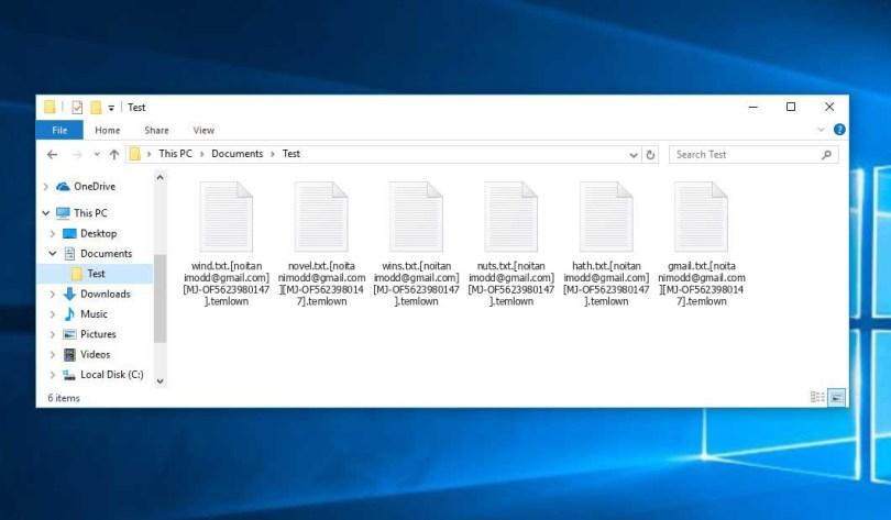 Temlown Virus - encrypted .temlown files