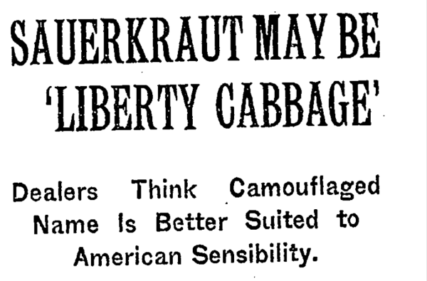 From Liberty Cabbage to French Fries