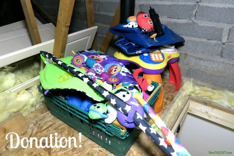 Declutter sentimental items – donation pile