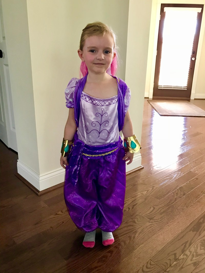 Scout's Halloween costume, October 2017, Shimmer & Shine, genies divine