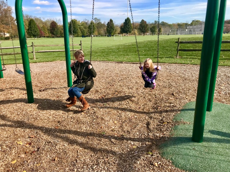October 2017, mam & Scout on swings