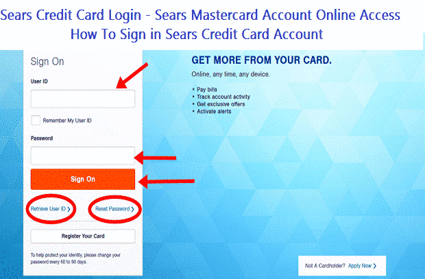 Sears Credit Card Login - Sears Mastercard Account Online Access | How To Sign in Sears Credit Card Account