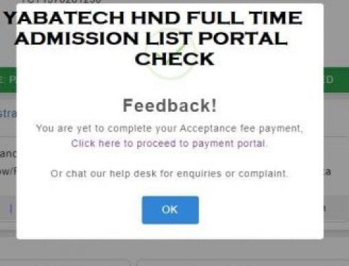 YABATECH HND Full Time Admission List For 2019/2020
