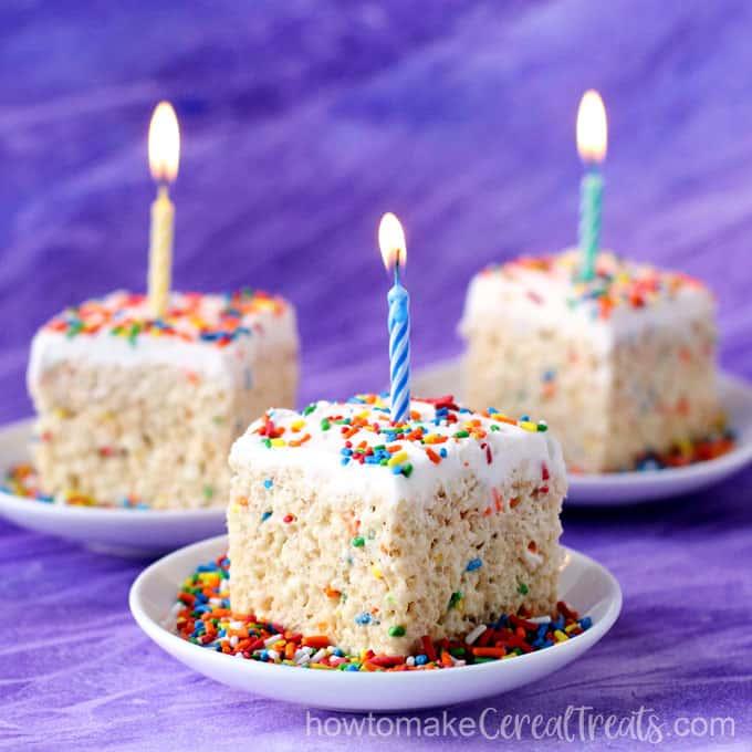 Birthday Cake Rice Krispie Treats Howtomakecerealtreats Com