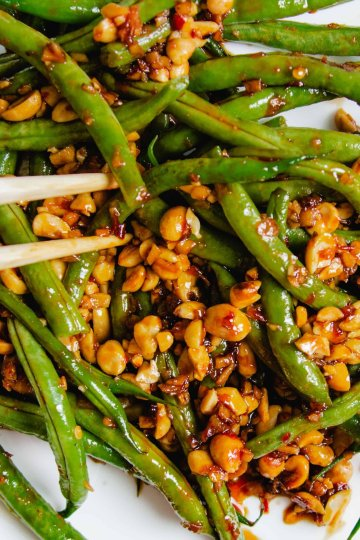 Sweet sambal green beans tossed with crunchy peanuts