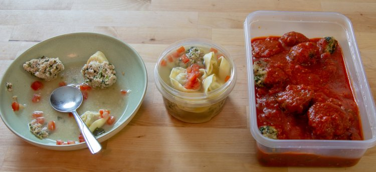 3 Stages of Meatballs - dinner today, lunch tomorrow, dinner for the future.