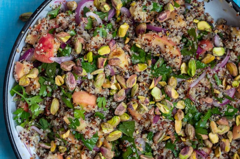 Late Summer Peach Quinoa Salad with Fresh Mint and Pistachios