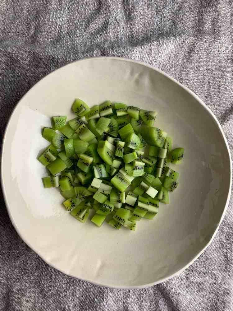 chopped kiwi in a bowl