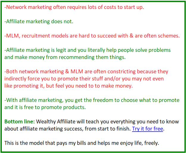 network marketing vs mlm vs affiliate marketing