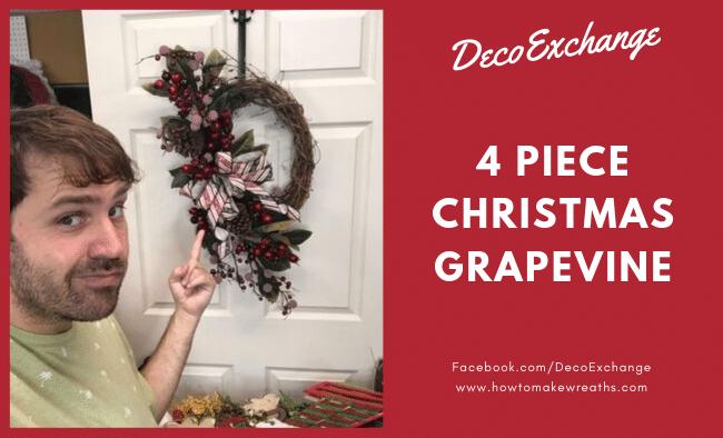 4 Piece Christmas Grapevine Wreath