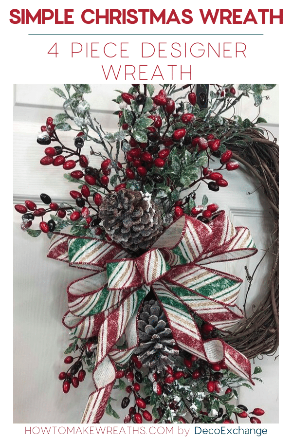 4-Piece designer looking simple Christmas wreath