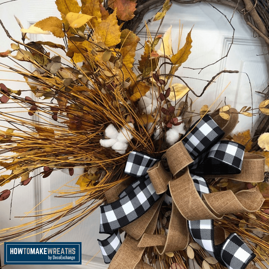 Black and White Fall Cotton wreath