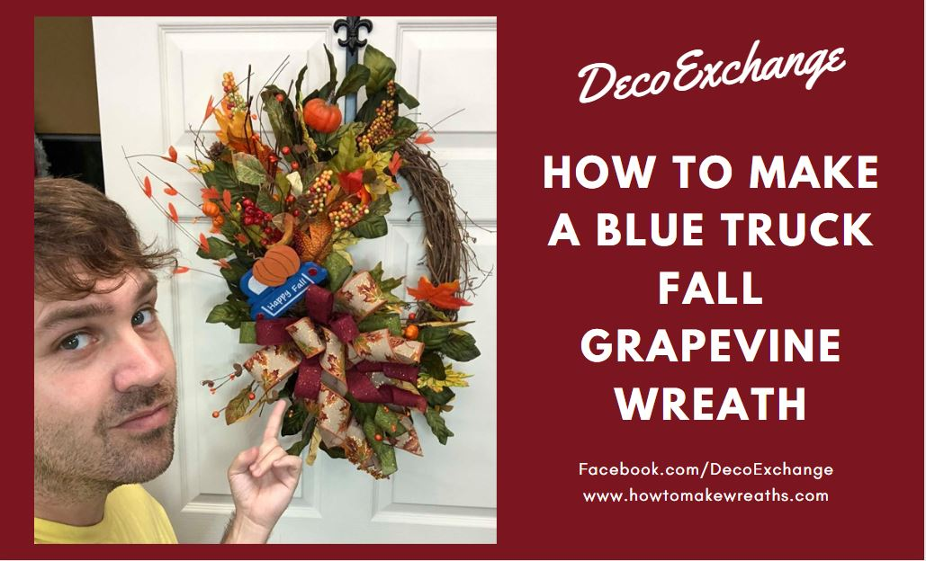 DIY Fall Grapevine Blue Truck Wreath