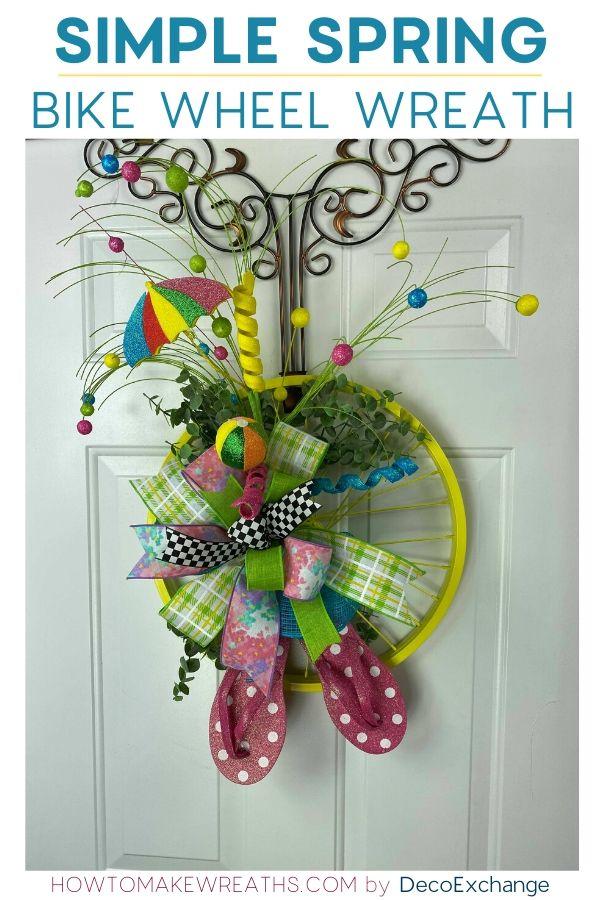 Simple Spring Bike Wheel Wreath