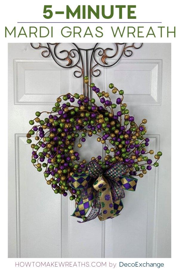 5-Minute Mardi Gras Wreath Tutorial