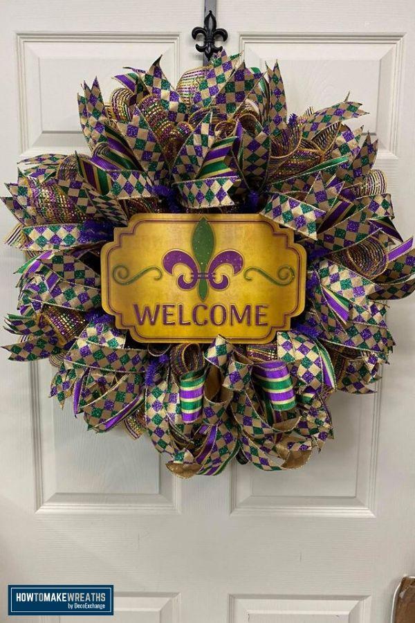 DIY Ribbon Tail Mardi Gras Wreath