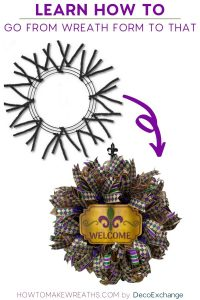 From Wreath form to Ribbon Tail Mardi Gras Wreath