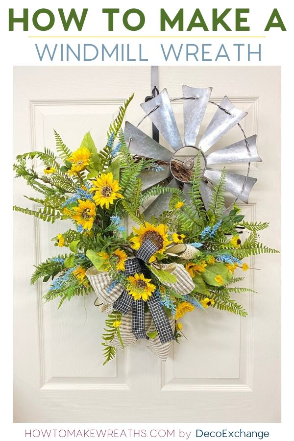 Windmill decor - cute windmill wreath made with a grapevine base, sunflowers and greenery.