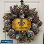 Mardi Gras Wreath - Deco Mesh Ribbon Tails and Sign