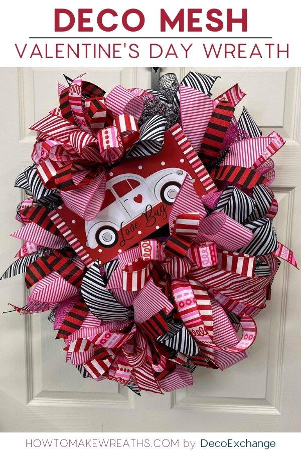 Poly Burlap Deco Mesh Valentine's Day Wreath