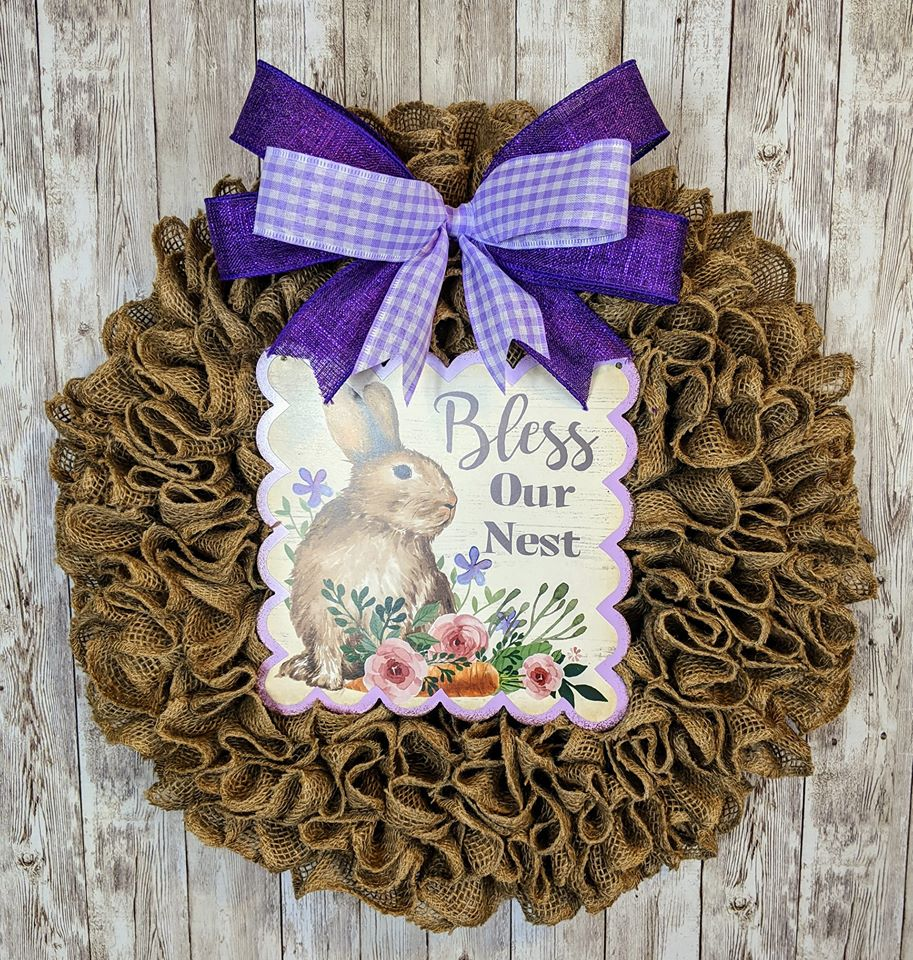 Burlap Spring Wreath - Wreaths by Jess W