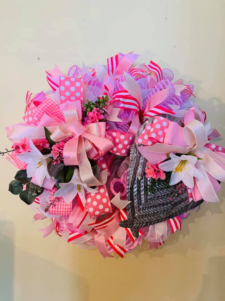 Sandy Steiger's Pink Ribbon and Lily Wreath