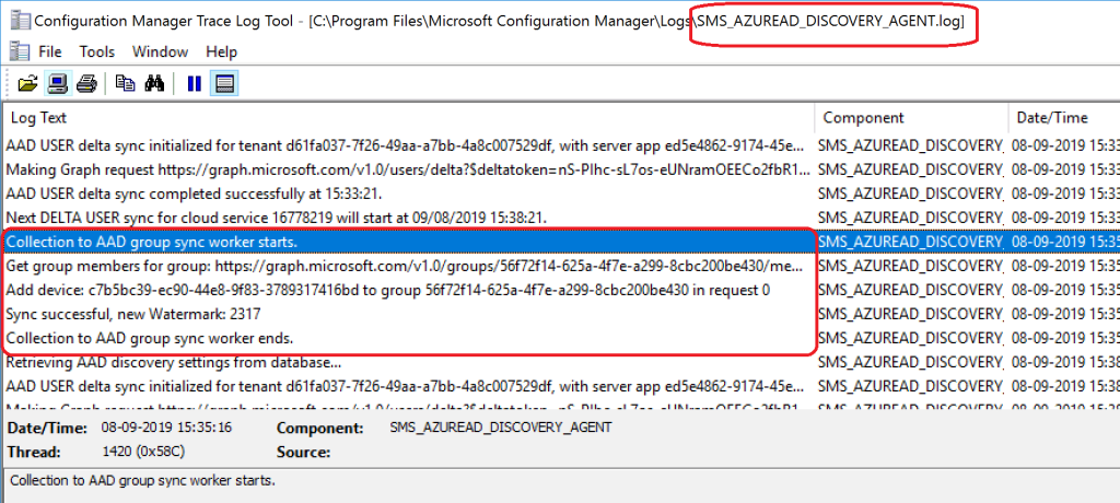 SCCM Collection AAD Group Sync - Log Snippet