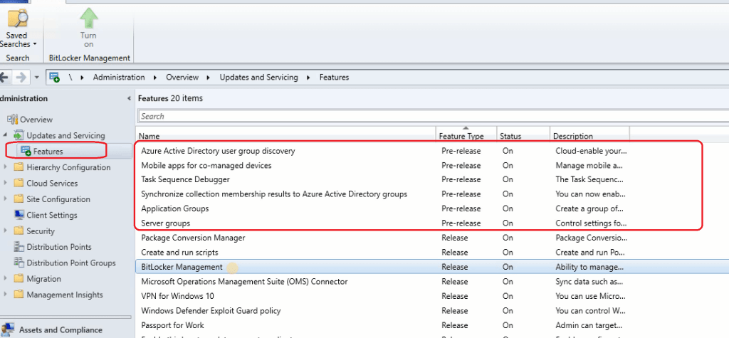 Pre-Released Features - SCCM 1910 Update