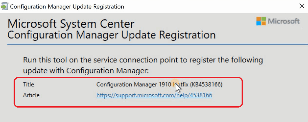 SCCM | CofnigMgr Update Registration Tool  Out of Band SCCM Hotfix