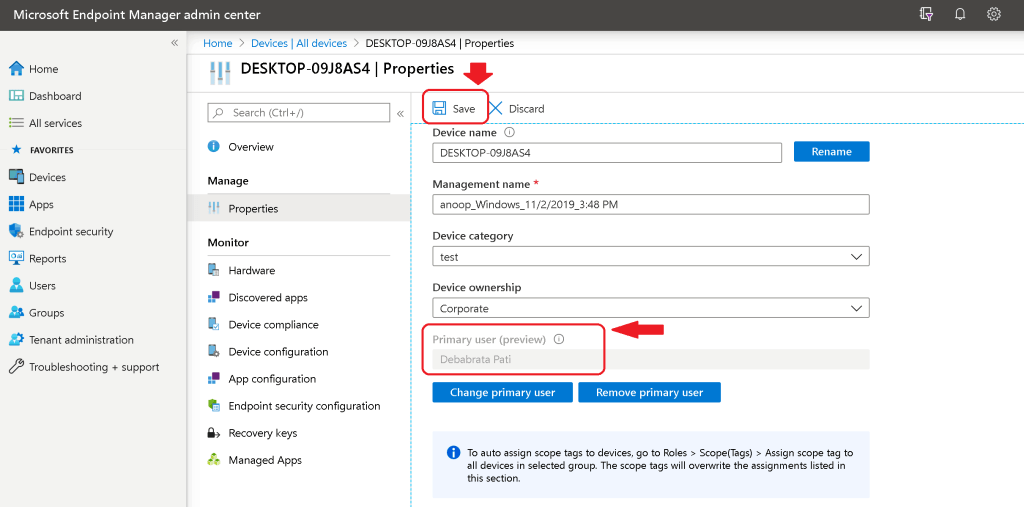 SAVE button to complete the Primary User change