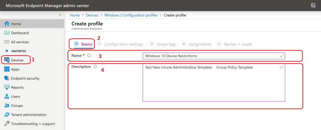 name and description - Intune Administrative Template for Group Policy