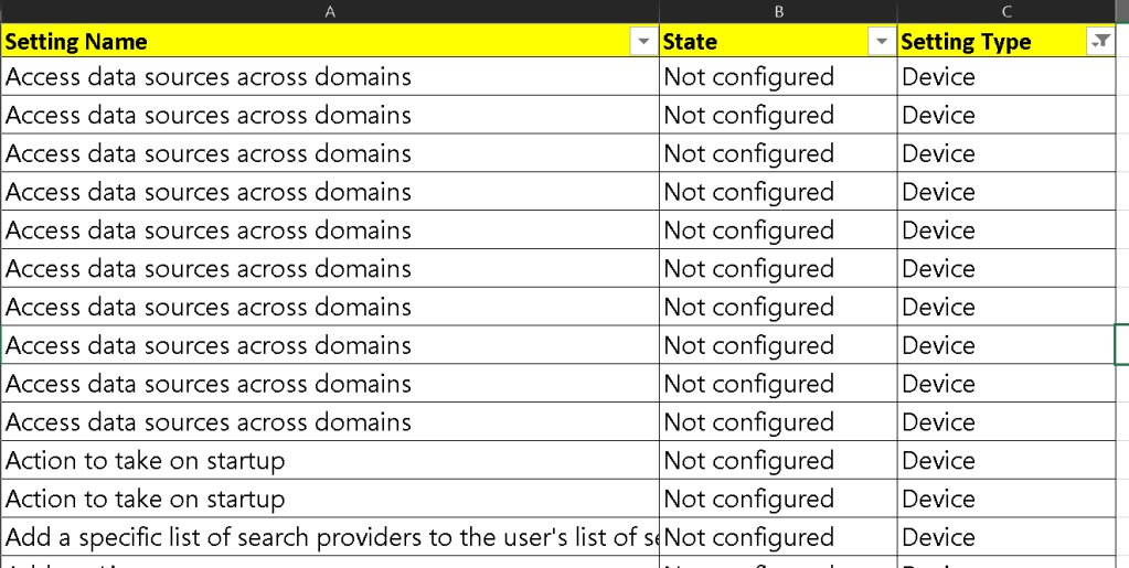 List of Intune Administrative Template Settings| User | Device 1