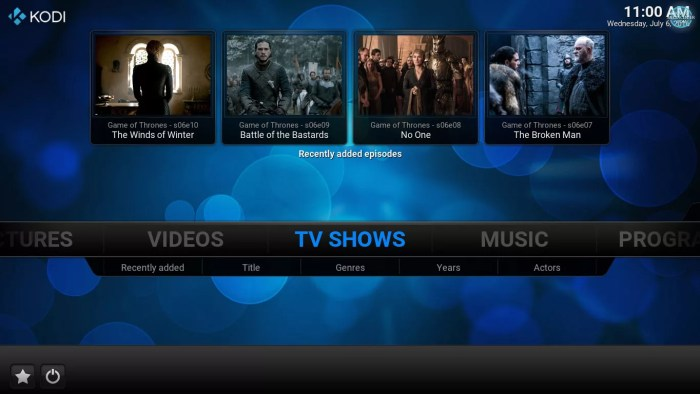 tv shows section on home screen