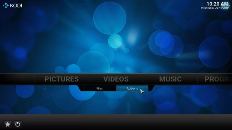 video addons option in kodi home screen