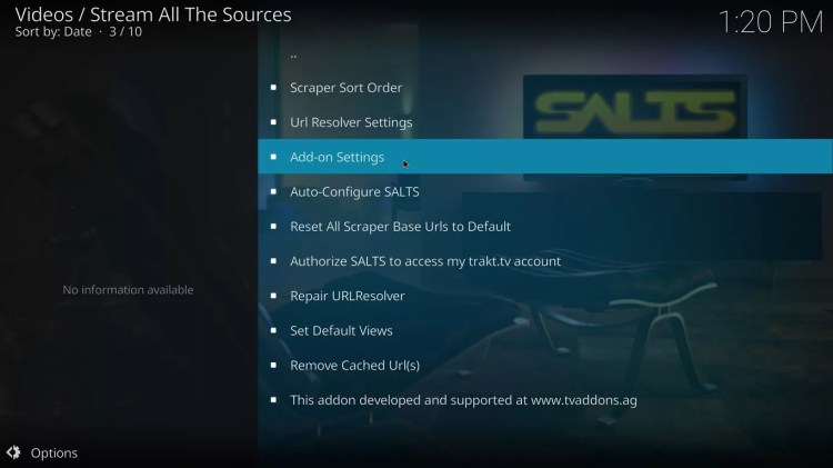 addon settings option in SALTS for Kodi