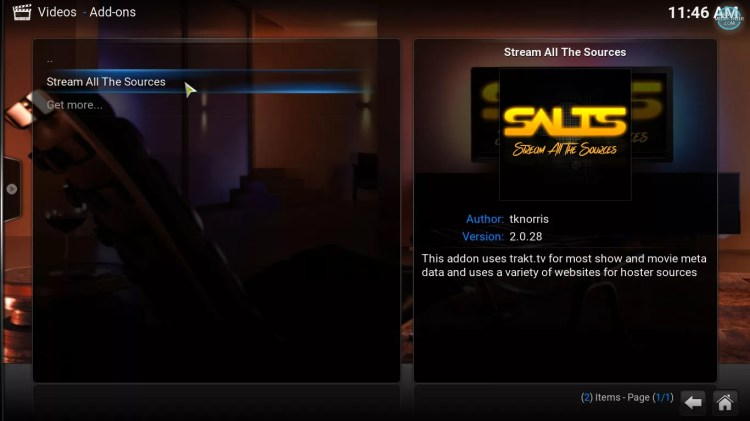 SALTS Stream all the sources video addon for Kodi