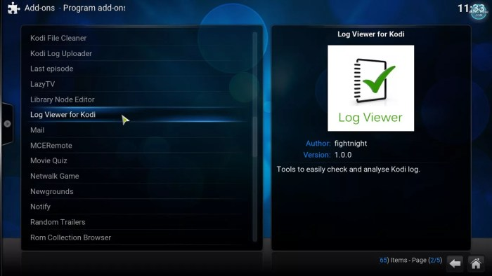 kodi program addons log viewer