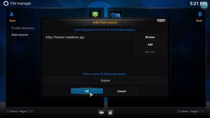 adding fusion source to kodi