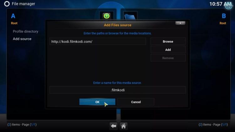 add filmkodi repository source to file manager on Kodi